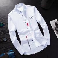 夏季白色长袖衬衫男士韩版修身青少年衬衣潮男装休闲秋装寸衫衣服