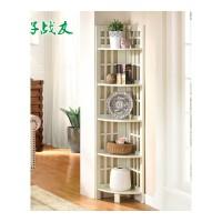 美式转角架书架客厅墙角置物架卧室角落三角架木质层架子