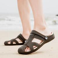 韩版潮流夏季休闲男士洞洞鞋防滑懒人沙滩鞋透气半拖鞋男大码凉鞋