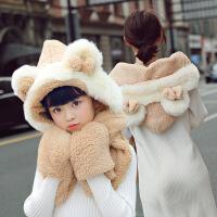 围巾女冬季时尚韩版女学生秋冬亲子围脖百搭加厚脖套女士帽子