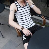 2018夏季新款男士背心纯棉修身型青少年条纹坎肩韩版潮流运动弹力