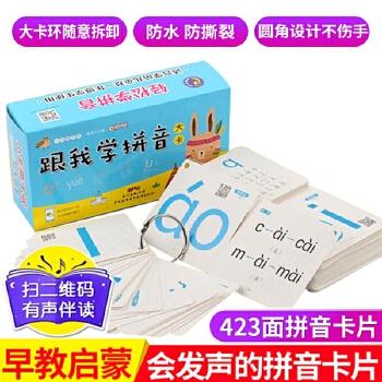 跟我学拼音大卡  共216张 幼儿园大班升小学一年级 学前儿童用幼小衔接教材全套汉语字母卡片小孩子早教发声书本教具发音