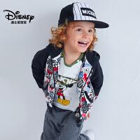 迪士尼宝宝重返学院男童针织前开连帽长袖套装2018秋款上新