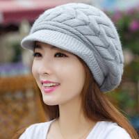 新款女士画家帽针织毛线帽 韩版潮百搭蓓蕾帽加厚贝雷帽子女 简约保暖鸭舌帽