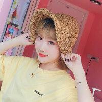 户外女士太阳帽镂空可折叠凉帽 韩版女草帽沙滩帽子 海边出游大檐帽遮阳帽