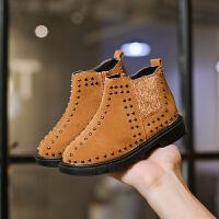 2018秋冬新款韩版儿童马丁靴铆钉短靴男童鞋宝宝鞋皮靴女童靴子潮