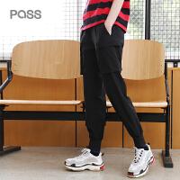 PASS2018新款夏装束脚黑色裤子女宽松长裤口袋运动裤小脚裤潮学生