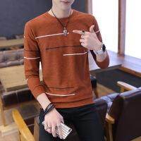 秋季薄款男士毛衣时尚圆领针织衫男青年学生打底衫套头秋衣修身潮