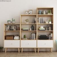 北欧书柜现代简约格子柜日式书架多功能置物架落地简易柜组合