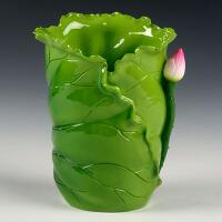 瓷器创意小摆件 陶瓷工艺笔筒装饰荷叶插香筒佛具佛教用品