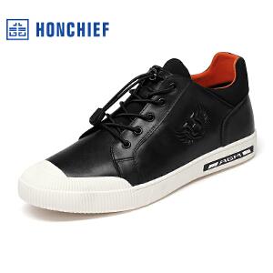 HONCHIEF 红蜻蜓旗下 秋冬新款真皮板鞋系带休闲时尚韩版男鞋
