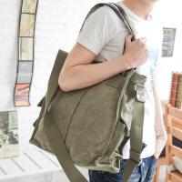 男包包单肩包手包竖款帆布斜挎包休闲时尚潮流韩版男士包包