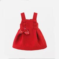 女童连衣裙宝宝吊带裙毛呢裙子秋韩版2背带裙1岁半-3-4岁潮小童 红色