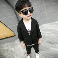 男童小西装儿童韩版1-3岁宝宝一粒扣红色休闲春装两件套2