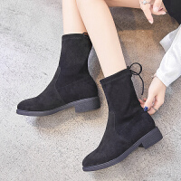ZHR2019秋季新款韩版瘦瘦靴粗跟单靴小跟短靴短筒靴百搭学生女靴