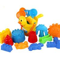 儿童沙滩玩具套装 小黄鸭宝宝婴儿洗澡玩具玩沙挖沙戏水铲子玩具 18件装