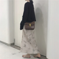 新款韩国chic气质百搭纯色打底上衣+花朵印花中长款半身裙套装女