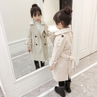 女童毛呢外套2017新款韩版童装中大童中长款儿童呢子大衣秋装 米白色