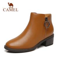 camel骆驼2018秋季新款女靴休闲短靴时尚英伦优雅牛皮靴子女