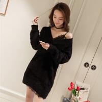 春季新款宽松毛衣连衣裙套装女韩版蕾丝拼接吊带裙两件套4388 均码