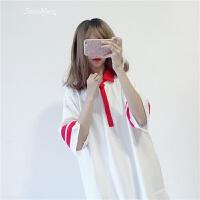 夏装女装韩版小清新宽松显瘦polo领拼接中长款五分袖学生连衣裙子 均码