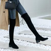 sw5050过膝长靴平底粗跟高跟弹力高筒瘦瘦靴长筒靴女 Tieland黑色 7.5CM 绒里