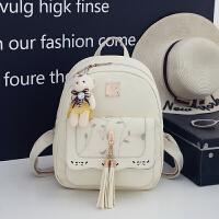 双肩包女pu子母包韩版百搭小背包校园书包包包 米白色双肩包 不送小熊挂件
