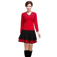 广场舞服装套装秋冬长袖裙裤中老年舞蹈衣服演出服套裙 长袖+742黑裙 L