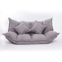 休闲沙发床懒人沙发榻榻米小户型双人日式两用小沙发卧室阳台休闲折叠沙发床 浅灰色棉麻