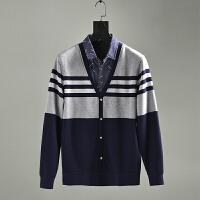 加绒加厚男装工厂剪标尾货衬衫领假两件套头针织衫冬装 W332 图片色