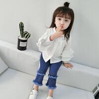 2018春秋新款洋气女童长袖白衬衫儿童衬衣小童婴儿T恤女宝宝上衣 白色