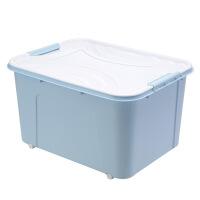 收纳箱35升 7/20/35/60/80/120L升手提带滑轮加厚塑料衣杂物收纳整理储置物箱L 蓝色 120L(822