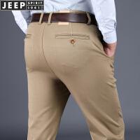 JEEP/吉普男装秋冬宽松直筒斜插口袋大码加厚休闲裤005男士长裤