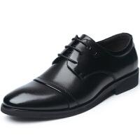 波图蕾斯皮鞋男士英伦尖头商务休闲鞋正装鞋系带结婚鞋