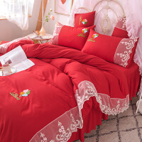 网红全棉蕾丝被套床上用品1.8米床裙床罩纯棉公主风少女心四件套