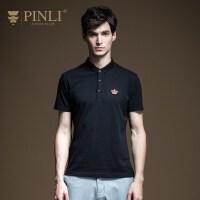 PINLI品立2020夏季新款男装修身绣花短袖T恤POLO衫上衣B202312205