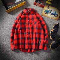 2018秋季长袖衬衫男士韩版复古格子衬衣个性印花潮流港风寸衫外套