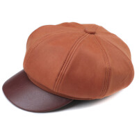 秋冬季时尚八角帽 鸭舌帽女款黄棕报童帽 羊皮画家帽松紧款