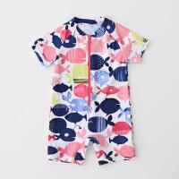 英伦女童儿童连体泳衣宝宝ins泳装女孩防晒小鱼温泉