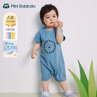 迷你巴拉巴拉婴儿连体衣2021夏季新款新生儿男女宝宝爬服凉感透气