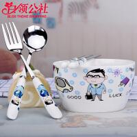 白领公社 餐具套装 家用陶瓷单人餐具碗筷套装不锈钢可爱卡通创意中式碗筷叉勺四件套