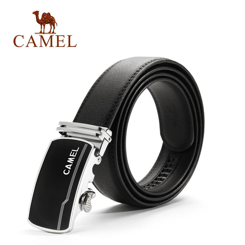 camel骆驼皮带 男牛皮正装商务休闲自动扣皮带简约男士易搭黑色裤腰带