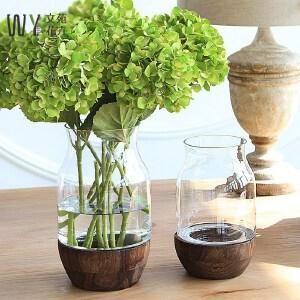 【每满100减50】幸阁 美式实木底座透明玻璃花瓶 手工花插水培花器