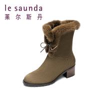 【全场3折】莱尔斯丹 冬季毛边装饰加绒加厚保暖雪地靴女短靴9T49210V