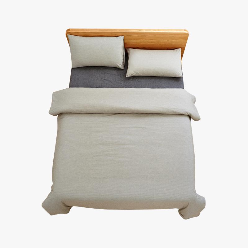 当当优品家纺 纯棉日式色织水洗棉床品 1.5米床 床笠四件套 条纹黑茶当当自营 MUJI制造商代工