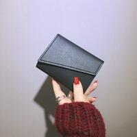 新款三折钱包女短款学生韩版可爱迷你小清新折叠复古原宿薄韩国零钱包 黑色 现货