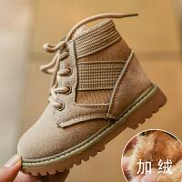 儿童时尚中筒靴雪地靴秋冬季新款宝宝马丁靴 女童鞋子 经典复古风 加绒款