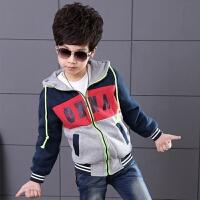 男童卫衣外套秋装童装2017新款儿童中大童拉链连帽加厚开衫上衣