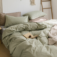 ins日式水洗棉纯棉床单四件套简约纯色被套1.5单件被单宿舍三件套 素-浅绿 水洗棉