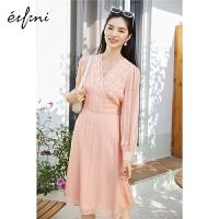 伊芙丽连衣裙春装2021年新款女网红设计感小众蕾丝V领显瘦仙女裙